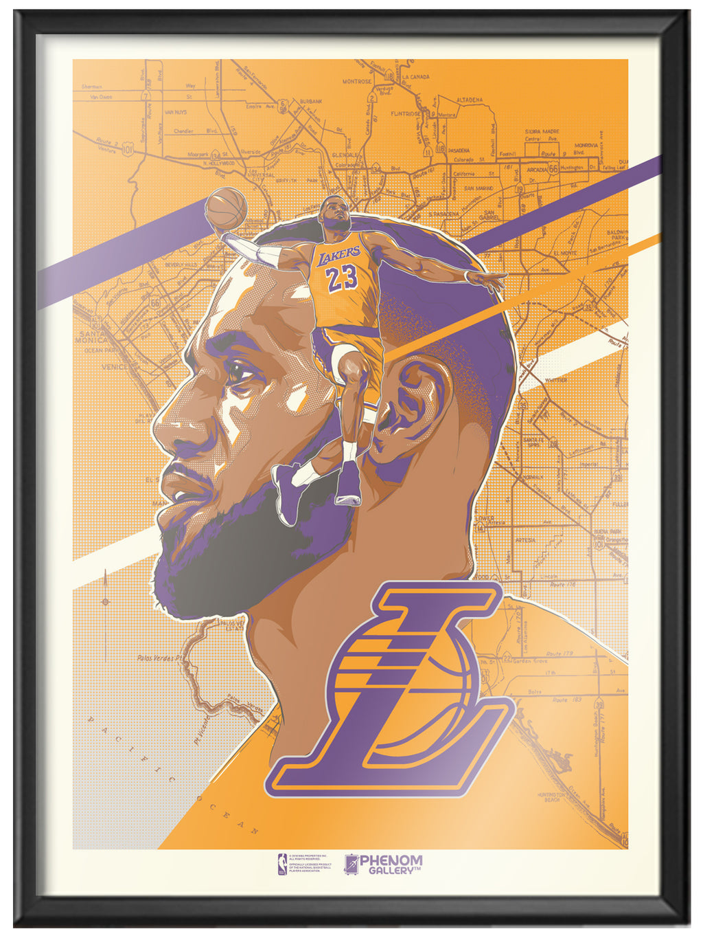 Los Angeles Lakers Rob Zilla LeBron James Framed Serigraph