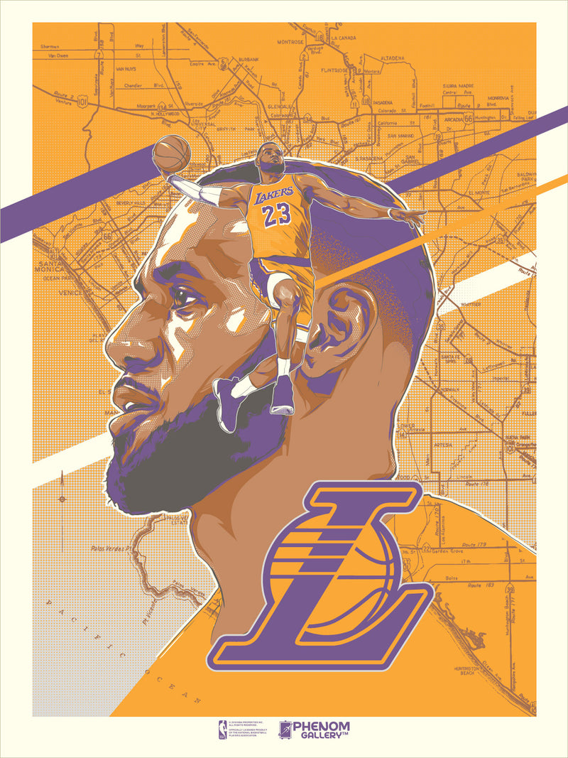 Los Angeles Lakers Rob Zilla LeBron Serigraph