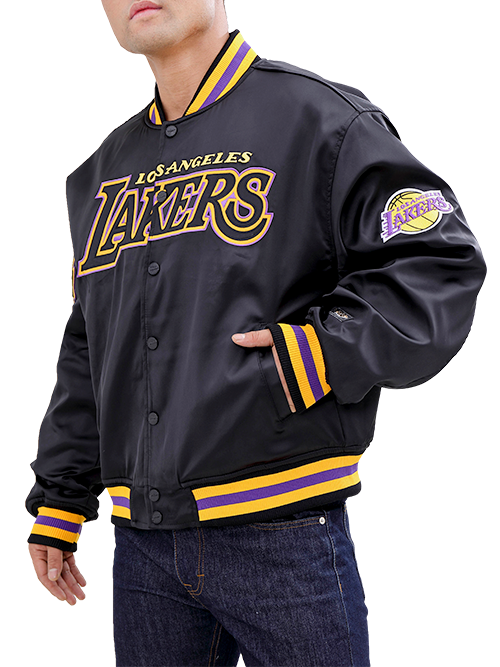 Los Angeles Lakers Wordmark Satin Button Down Jacket