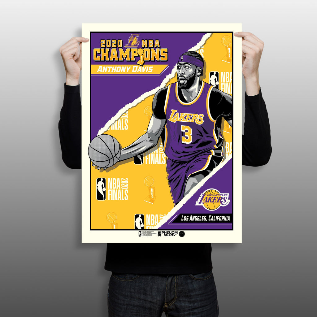 "2020 NBA Champions 18"" x 24"" Anthony Davis Los Angeles Lakers Serigraph"