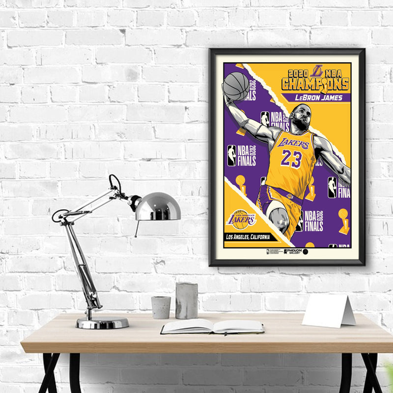 "2020 NBA Champions 18"" x 24"" LeBron James Los Angeles Lakers Framed Serigraph"
