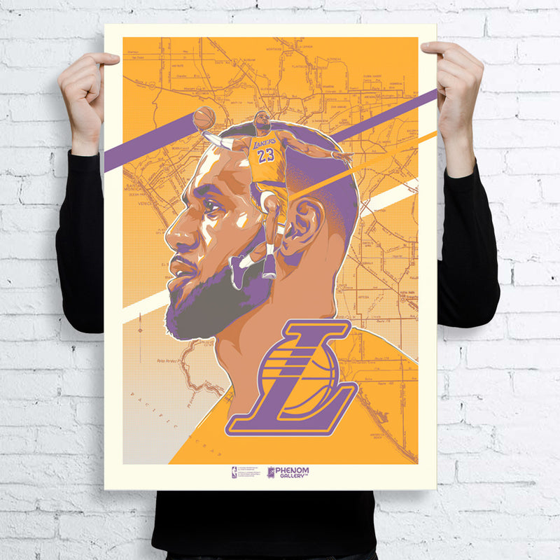 Los Angeles Lakers Rob Zilla LeBron James Serigraph