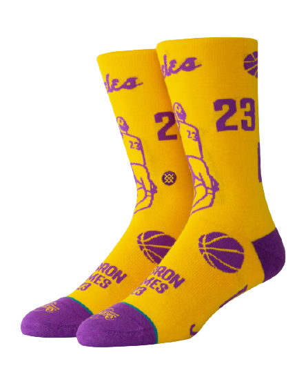 Los Angeles Lakers LeBron Stencil Socks
