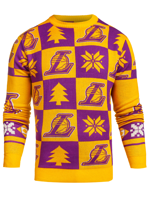 Los Angeles Lakers Patches Ugly Crew Neck Sweater