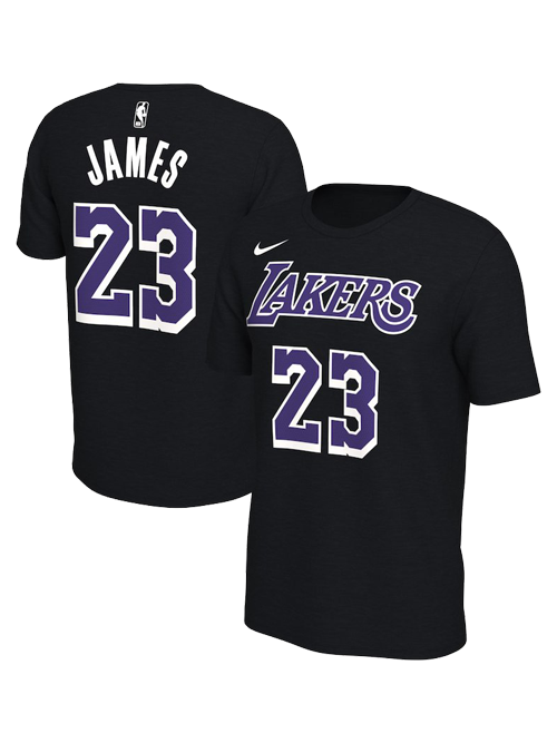 Los Angeles Lakers LeBron James Dark Icon Name & Number T-Shirt