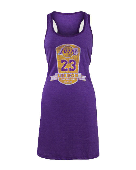 Los Angeles Lakers LeBron James Women s Plaque Racerback Dress c13c11e20e