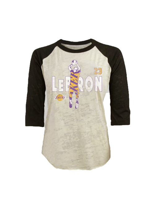 Los Angeles Lakers LeBron James Women s Jumper Burnout Raglan T-Shirt –  Lakers Store 02448f4ddb
