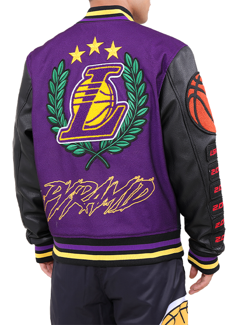 Los Angeles Lakers Black Pyramid Letterman Jacket