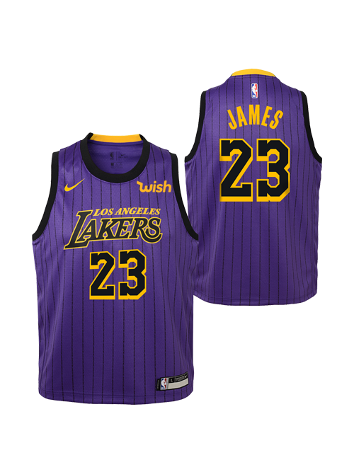 9a03ff3ea Los Angeles Lakers City Edition Youth LeBron James Swingman Jersey ...