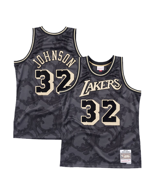 Los Angeles Lakers Magic Johnson Gold Toile Swingman Jersey - Black
