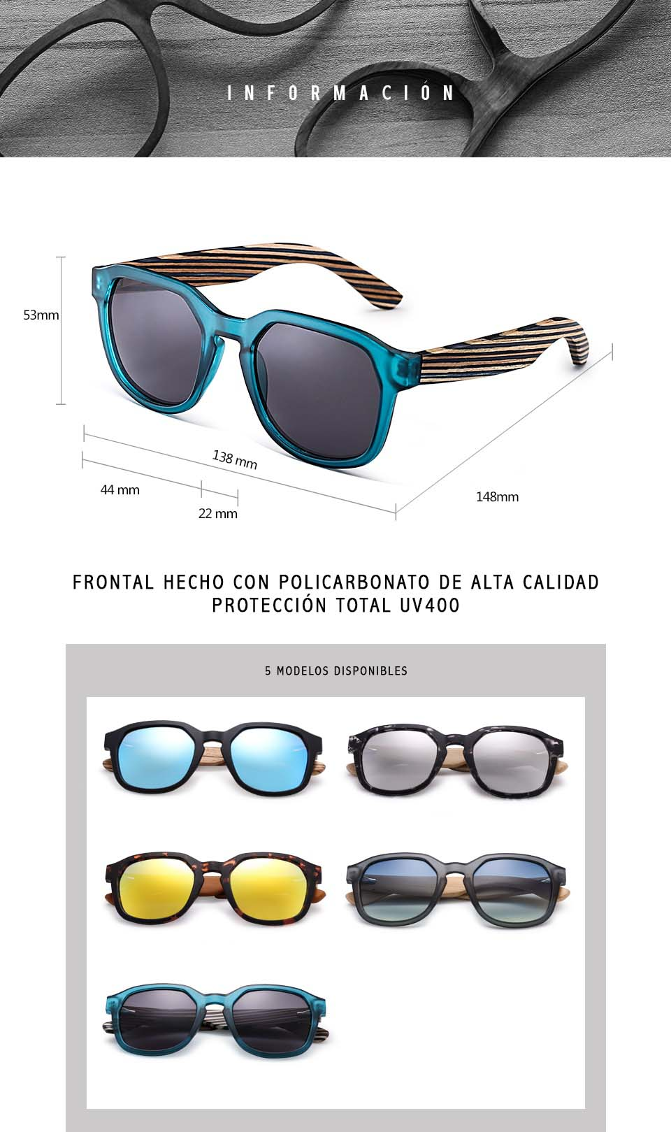 Gafas de sol patillas de madera Hardness