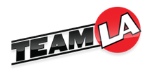 Team LA logo - team in black letters and LA in white letters amid a red circle