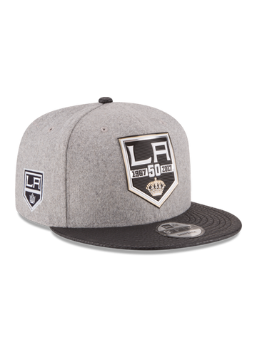 Los Angeles Kings 50th Anniversary Logo Melton Leather Shield Embroidered Cap