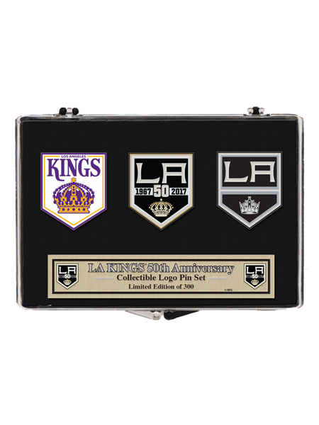 Los Angeles Kings 50th Anniversary Inaugural Crown 3 Pin Set