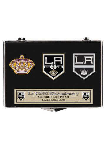 Los Angeles Kings 50th Anniversary Queens Crown 3 Pin Set