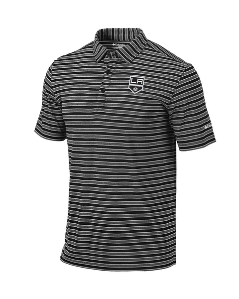 LA Kings Members Striped Golf Polo - Black