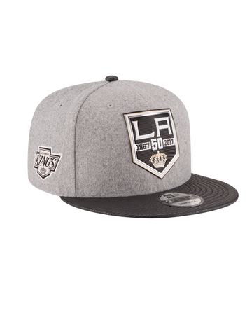 Los Angeles Kings 50th Anniversary Logo Melton Leather Chevron Embroidered Cap