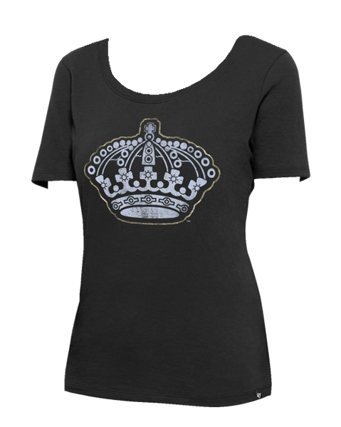 LA Kings Womens Lux Sequins Runback Scoop Short Sleeve T-Shirt
