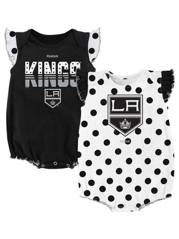 Los Angeles Kings Infant Girls Polka Fan 2 pack Creeper Set