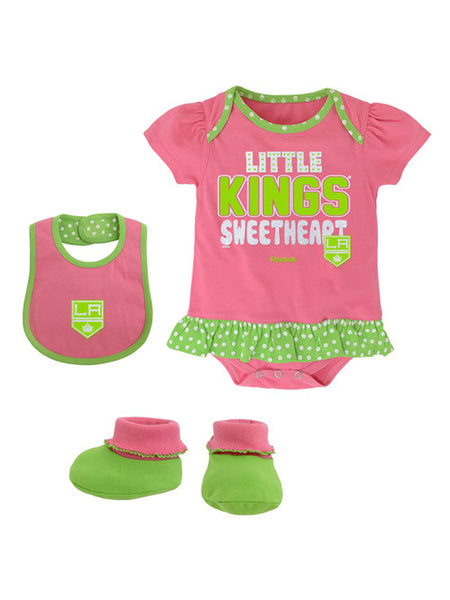 Los Angeles Kings Infant Pink Creeper Bib & Bootie Pack
