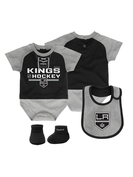 Los Angeles Kings Newborn Junior League Creeper, Bib, Bootie Set