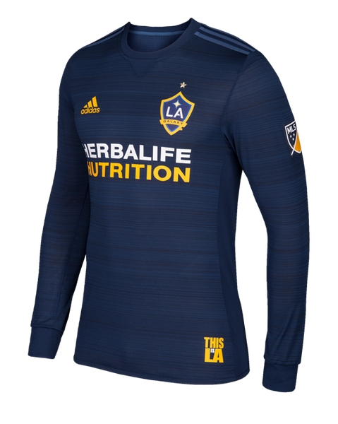 best service 9020e 41fb1 LA Galaxy Secondary Authentic Long Sleeve Jersey