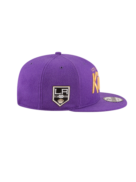 Los Angeles Kings 50th Anniversary Script Purple Lambskin Cap