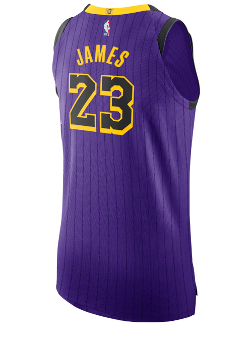 finest selection 7729f dbf1e Los Angeles Lakers City Edition LeBron James Authentic Jersey