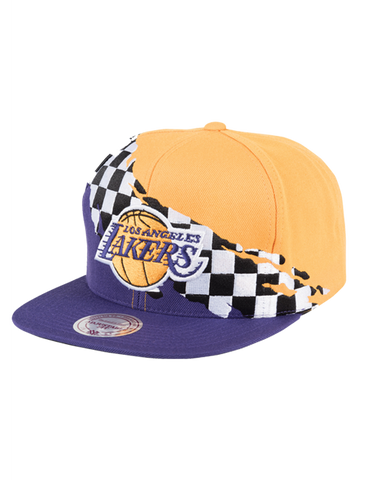 Los Angeles Lakers Checkered Paintbrush Snapback Cap