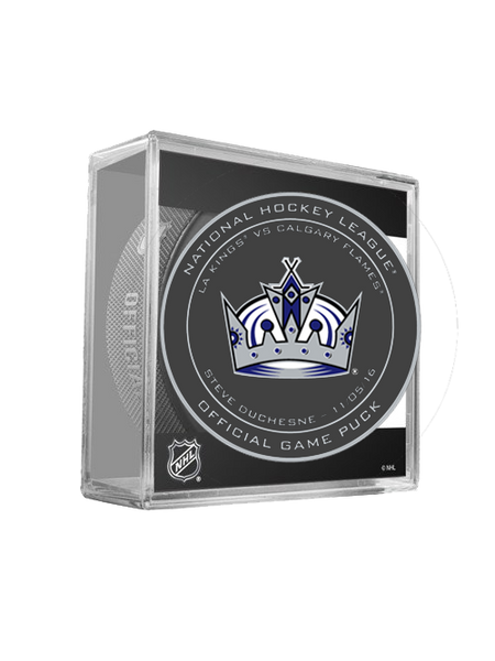 LA Kings 50th Steve Duchesne On Ice Puck in Cube