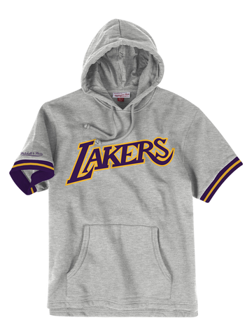 Los Angeles Lakers French Terry Short Sleeve Hoodie - Grey