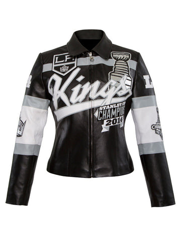 Los Angeles Kings Women's Two Time Stanley Cup Champions Lambskin Leather Jacket