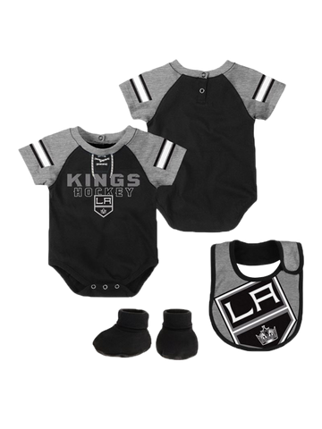 LA Kings Infant Little D Man Creeper Bib Bootie Set