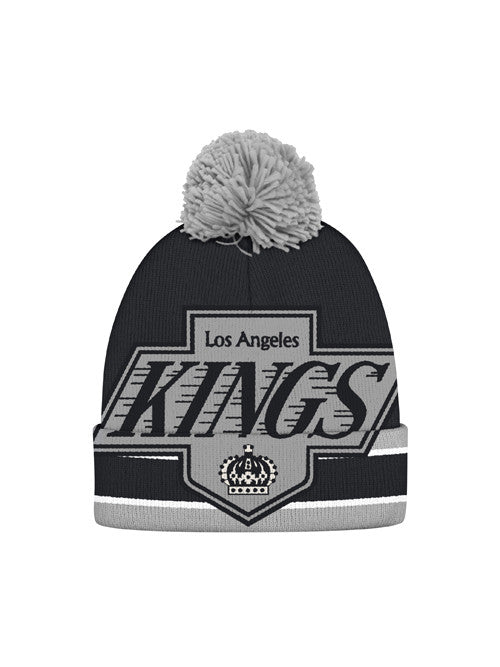 LA Kings CCM Large Vintage Chevron Logo Cuffed Knit With Pom
