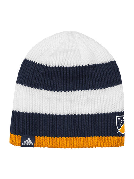LA Galaxy Authentic Team Striped Reversible Beanie