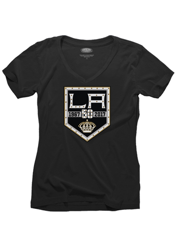 Los Angeles Kings Women's 50th Primary Logo Bling T-Shirt