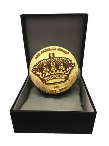 Los Angeles Kings 50th Anniversary Collectible Queens Crown Statue Puck