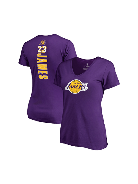 Los Angeles Lakers Women's LeBron James Backer Name & Number T-Shirt - Purple