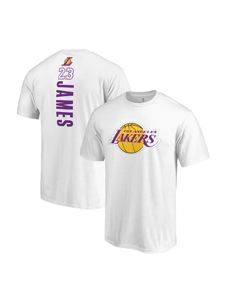 Los Angeles Lakers LeBron James Backer Name & Number T-Shirt - White