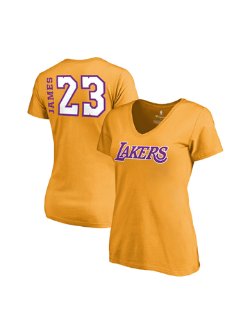 Los Angeles Lakers Women's LeBron James Side Sweep Player V-Neck - Gold