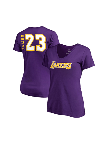 Los Angeles Lakers Women's LeBron James Side Sweep Player V-Neck - Purple