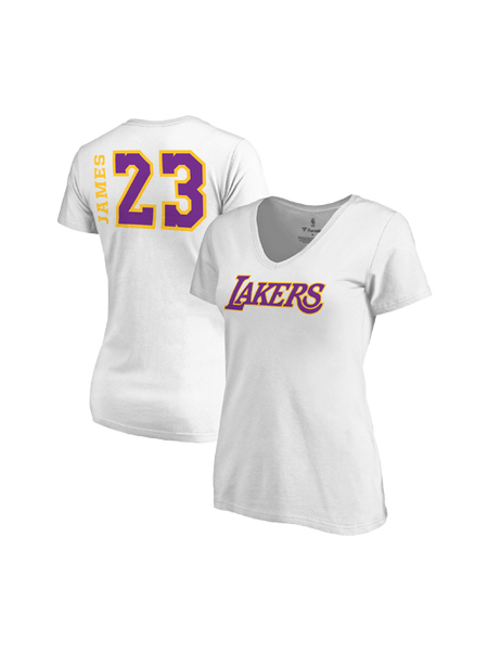 Los Angeles Lakers Women's LeBron James Side Sweep Player V-Neck - White