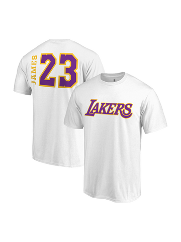 Los Angeles Lakers LeBron James Side Sweep Player V-Neck - White