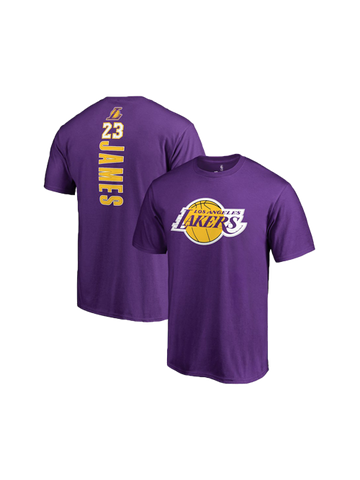 Los Angeles Lakers LeBron James Backer Name & Number T-Shirt - Purple