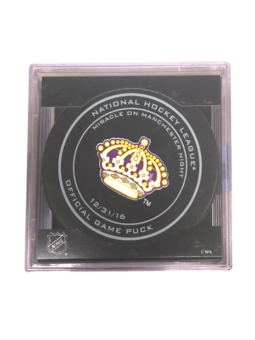 Los Angeles Kings 50th Miracle on Manchester On Ice Puck in Cube