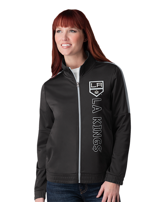 LA Kings Women's Double Silver Track Jacket - Black
