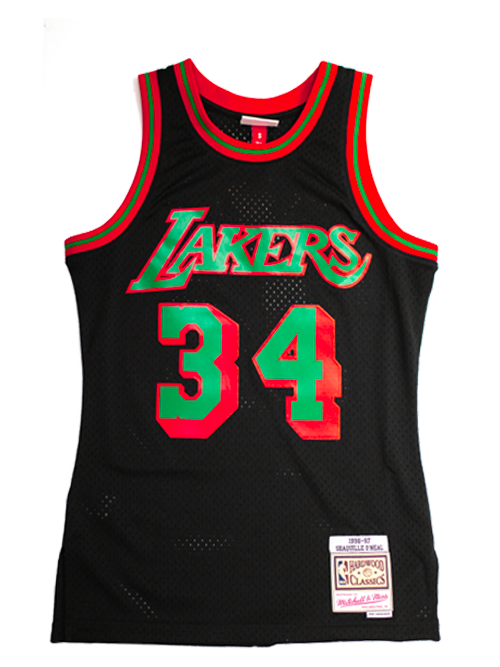 big sale ddc0e 07538 Los Angeles Lakers Shaquille Oneal Christmas Swingman Jersey