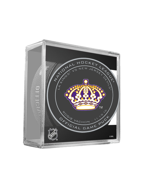 LA Kings 50th Rogie Vachon On Ice Puck in Cube