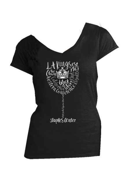 Los Angeles Kings Womens Scripted Sommelier V-Neck T-Shirt