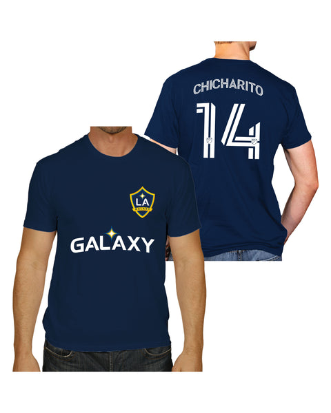 LA GALAXY ORIGINAL RETRO JAVIER CHICHARITO HERNANDEZ  MENS NAVY SHORT SLEEVE T-Shirt